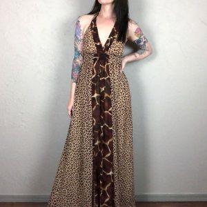Vintage 1990s Animal Print Maxi Halter Dress